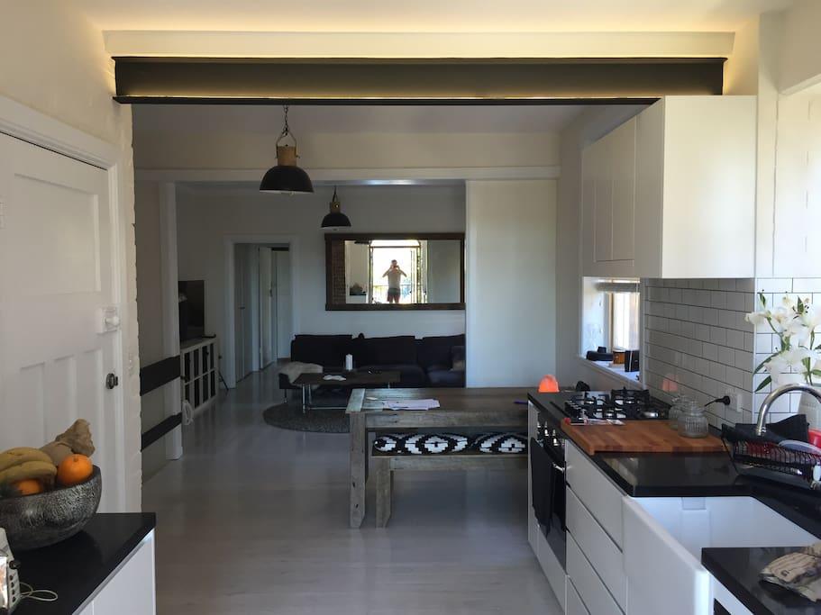 Open plan modern kitchen & living room