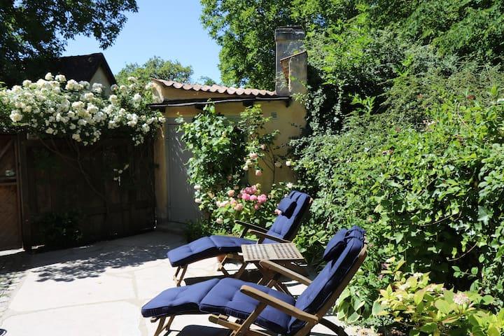 The yard is sunny and silent.   Gården är tyst och solig.