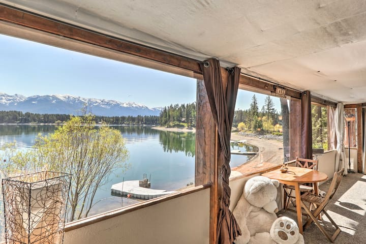 NEW! Luxe Lakefront Haven w/ Mountain Views & Dock
