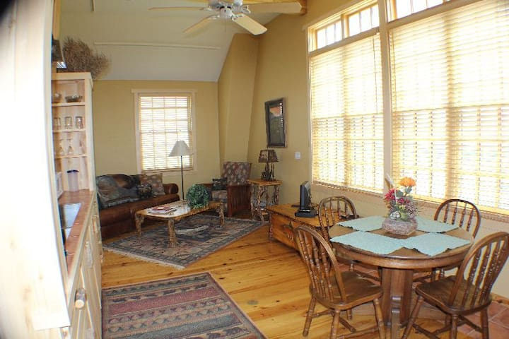 More of the living room taken from the kitchen area