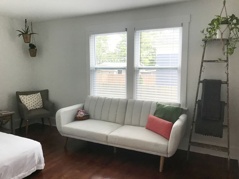 Plenty of space in the guest room for lounging and hanging out!