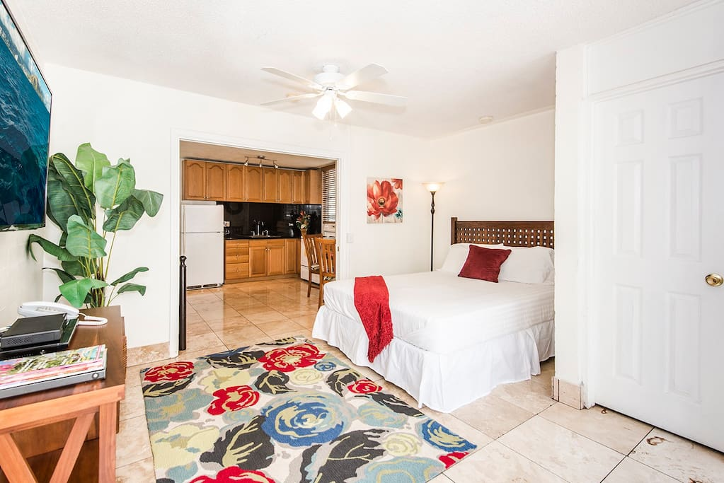 Queen Bedroom with Large Flat Screen TV and Ceiling Fan