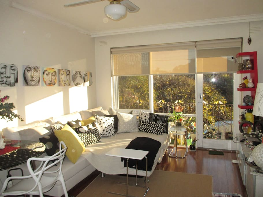Beautiful sunny living area, to relax on the couch.