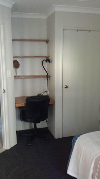Bedroom desk/shelves/robe