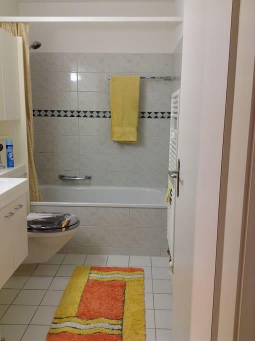 Bathroom entrance and bathtub