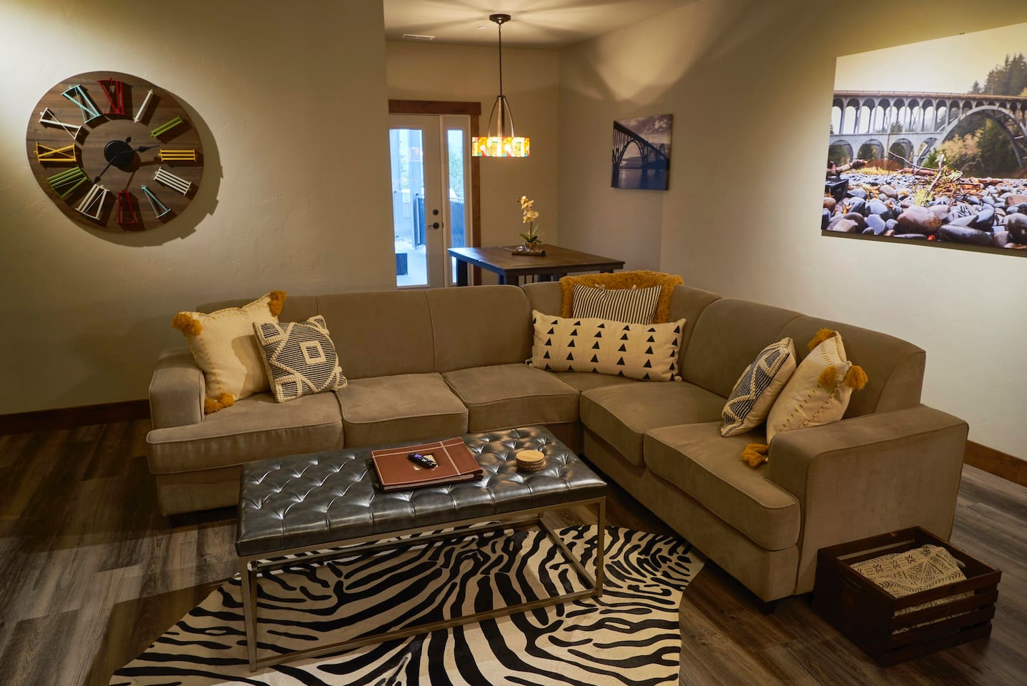 stylish cozy living room with open concept