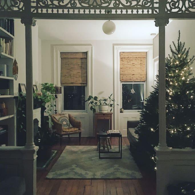 Living room adjacent to bedroom.