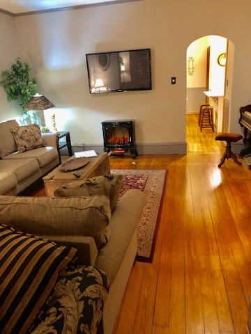 Large living space with flat screen TV and electric fireplace