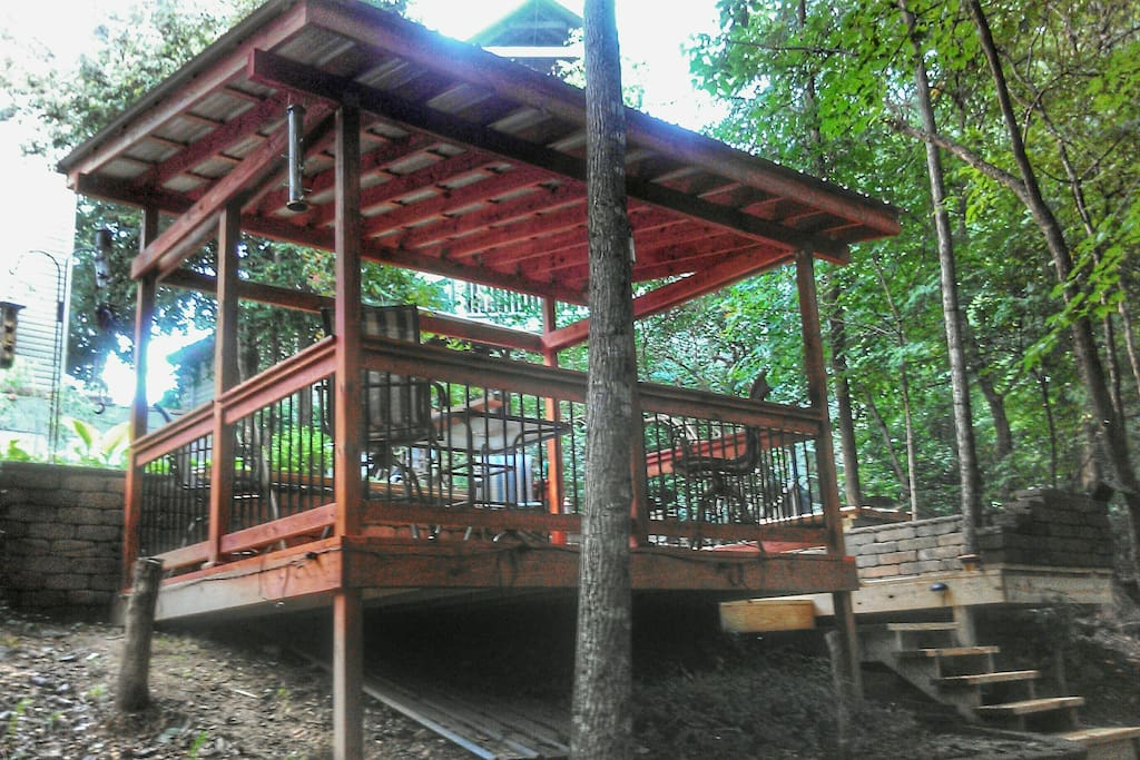 Back deck next to the fire pit, including 4 deck stools & table!