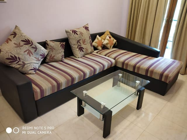 Drawing room with King Size Very Comfortable Sofa Set. Can seat 5-6 ppl at a time