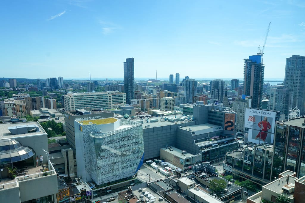 View of Dundas Square and downtown Toronto... right from the living room!