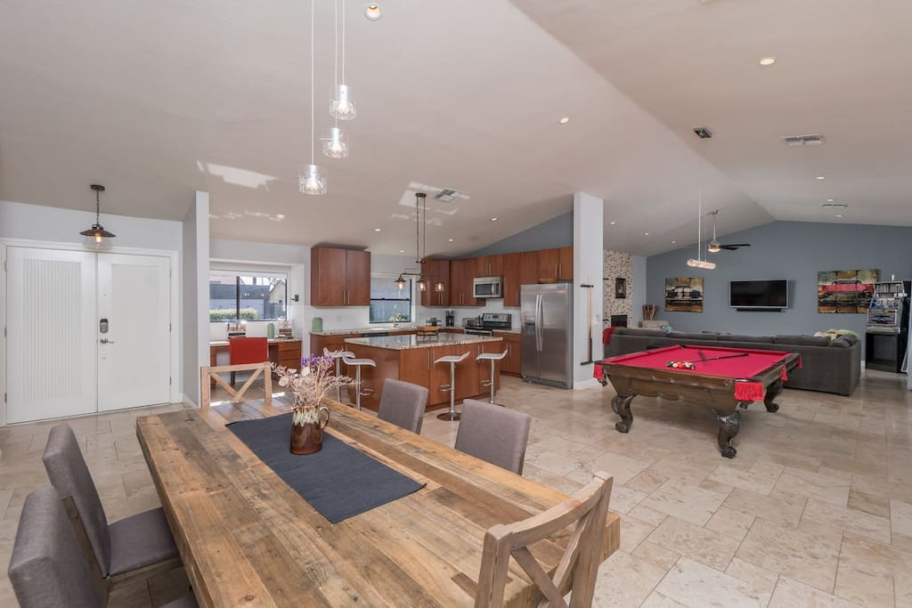kitchen/ dining room / 9' pool table custom built for Barry Goldwater Jr.!