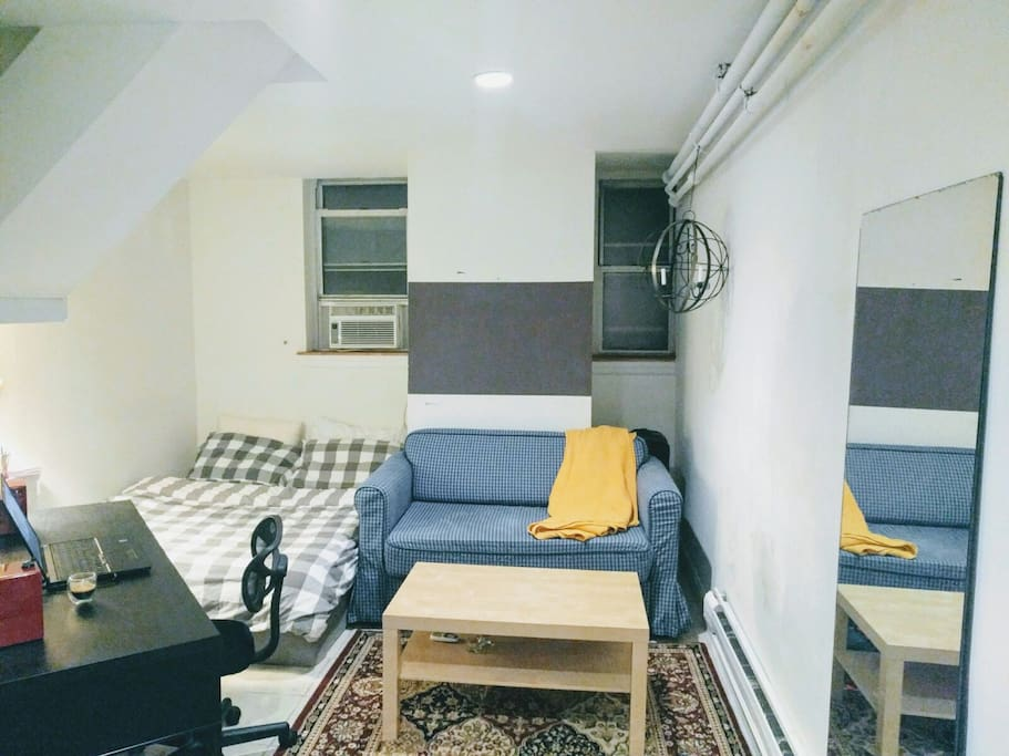 Bed, couch and working desk