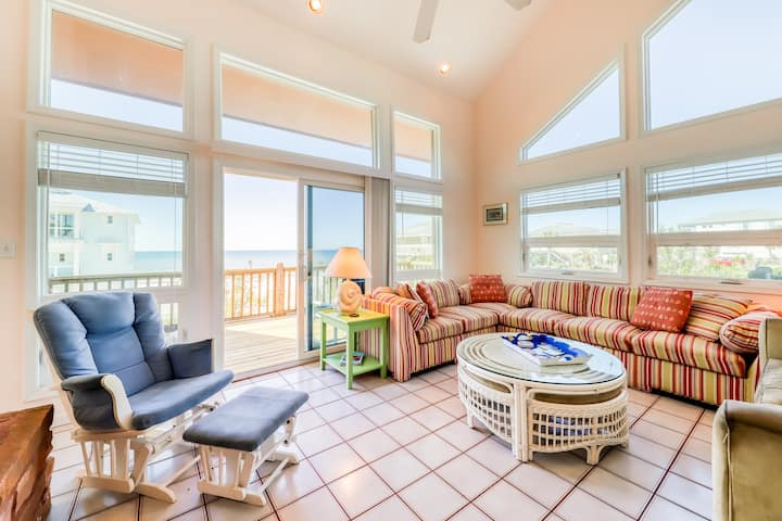 Gulf view home across the street from the beach - walk to shops/restaurants!