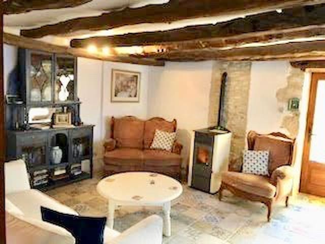 Cosy living room with wood pellet stove