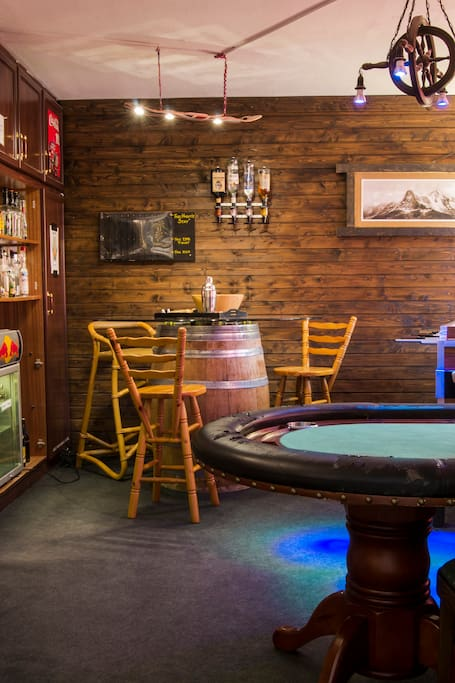 Bar, Poker, Table-Football table etc in the Mystery Room