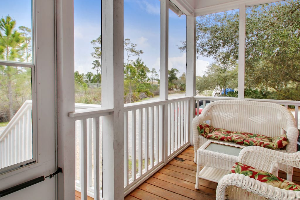 Screened-in porch for comfortable nighttime relaxation.