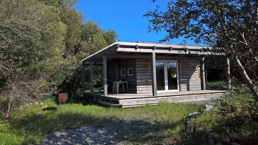 Holzhaus mit Badesee im Naturschutz - Rogil