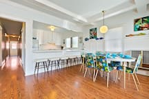 Dining Area for 6 with 6 additional breakfast bar high top stools so everyone can eat together.