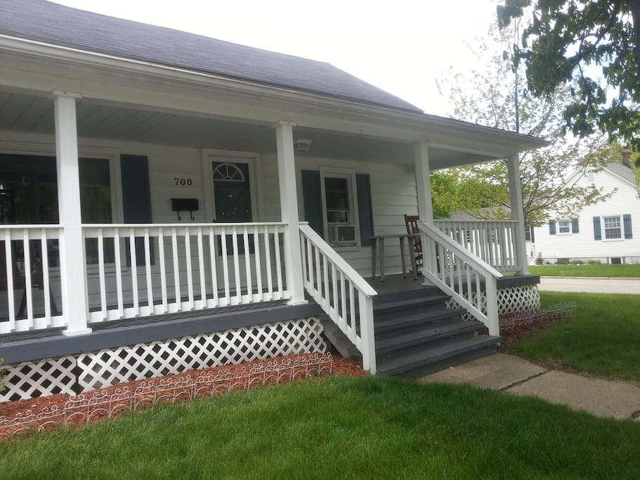 Large front porch with swing