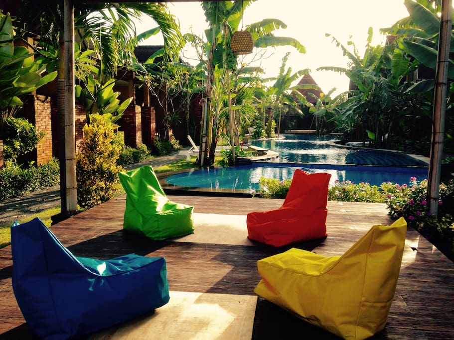 Garden relax area view from the kids pool