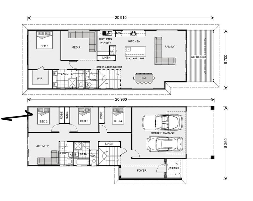 Floor plan of the soon to be completed The Bay Beach House. The Media Room will have locking doors and a sofa bed