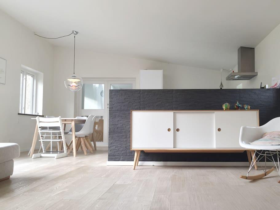 Livingroom and kitchen.