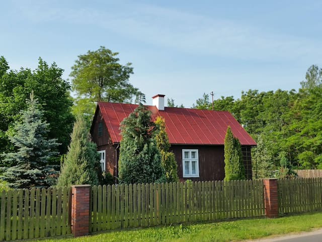 Wooden Cottage with fireplace & 5.000m big garden - Rusiec - Konukevi