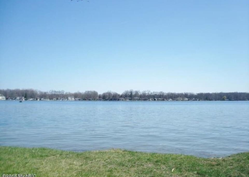 Here is the view from the private shared boat launch with picnic area. This is about 4 houses down from our lot.