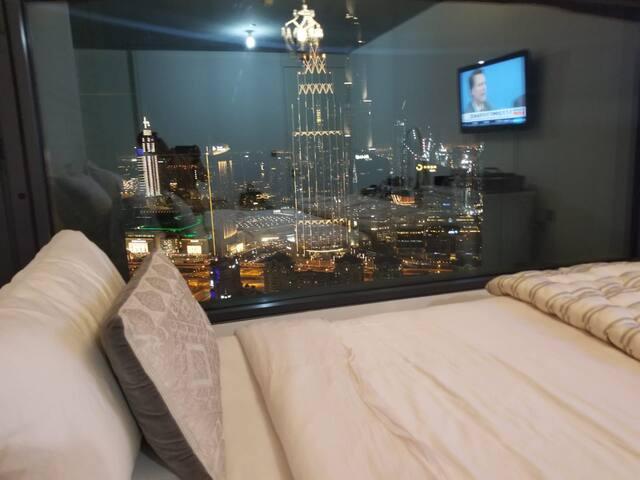 AMAZING view! Master bedroom. Elegantly furnished.