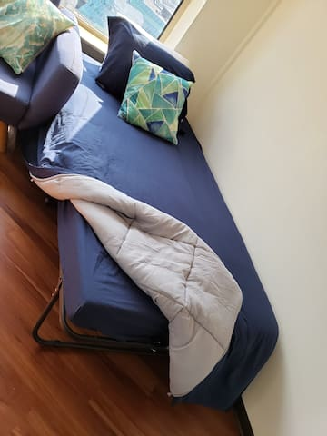 The extra bed also has a comfortable memory sofa bed to assure a good night rest