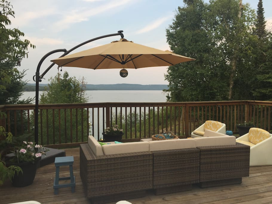 new furniture on lake deck
