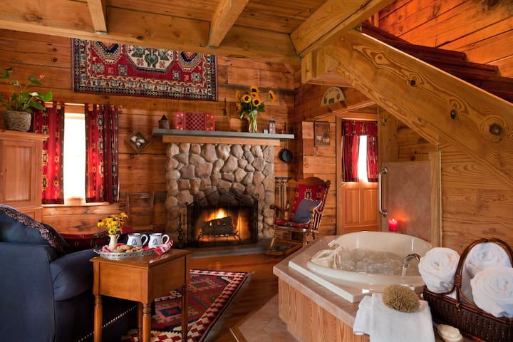 Romantic and Secluded Log Cabin at our Durham B&B