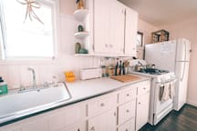 Fully equipped large kitchen.
