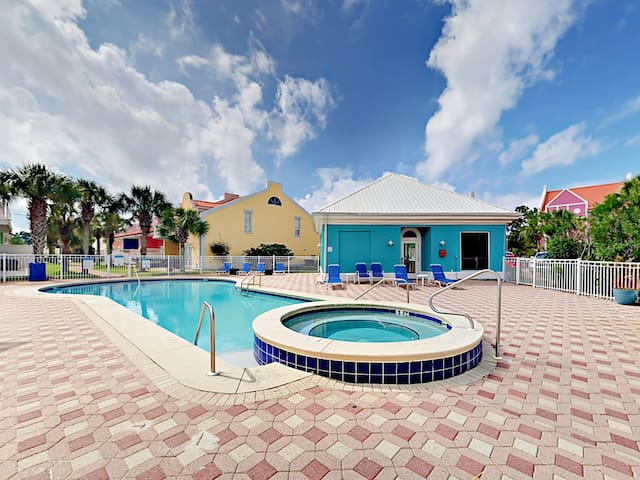 The unheated pool and bubbling hot tub are a short walk from your door.