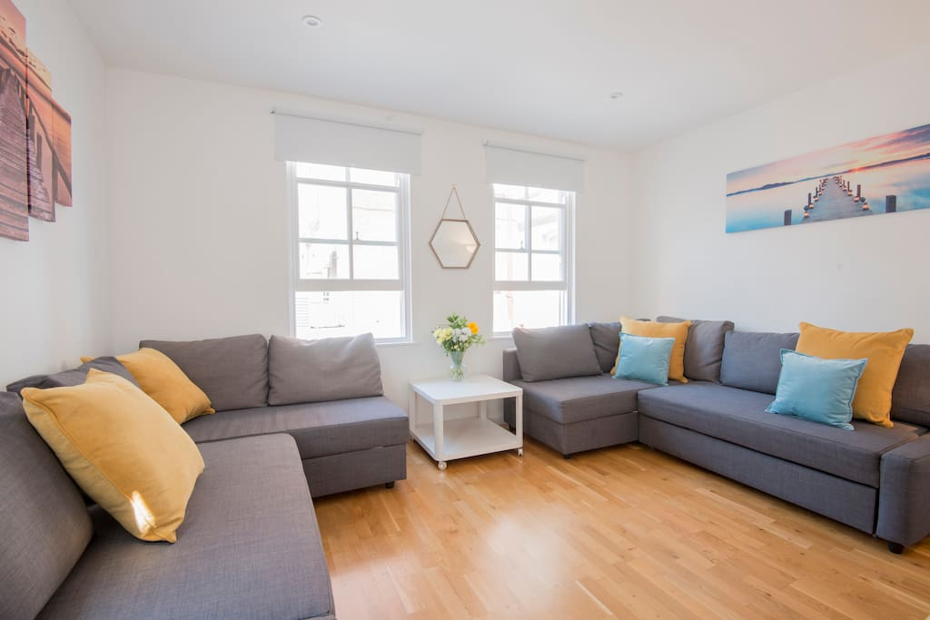 Living Area with comfortable seating, TV, Virgin Media and WIFI