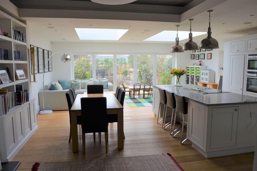 Open-plan kitchen-dining area