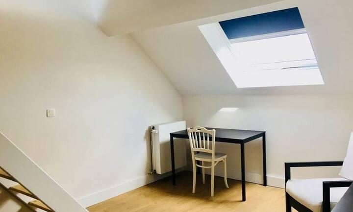 Ixelles, belle chambre avec mezzanine et belle vue