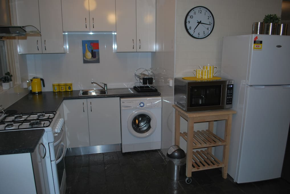 Washer in kitchen and full size fridge