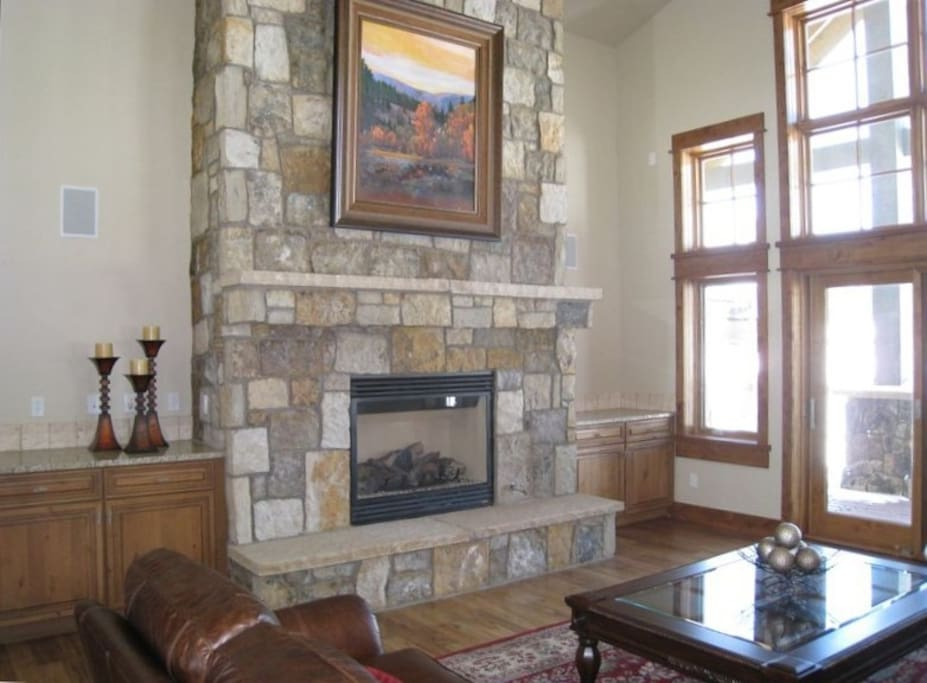 Vaulted Ceilings and a Gas Fireplace in the Living Room