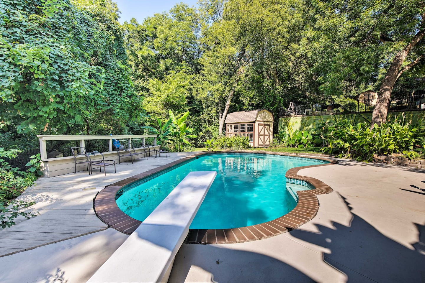 Dive right in to this Duncanville vacation rental's private backyard pool.