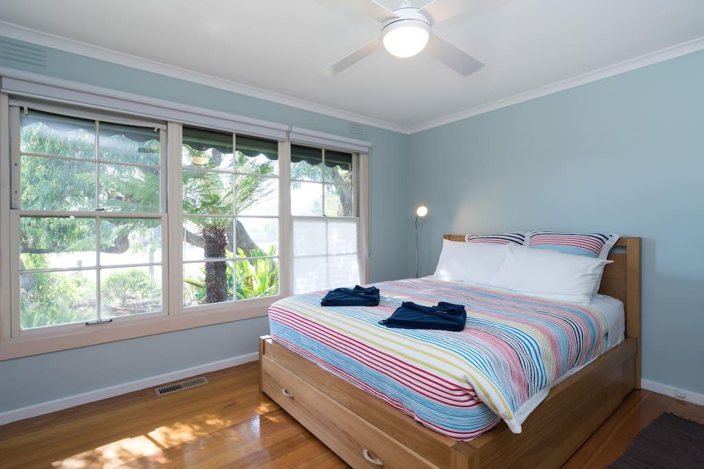 Master bedroom overlooks garden