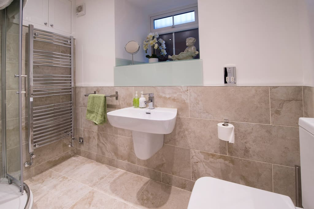 Corner shower with WC and heated towel rail.