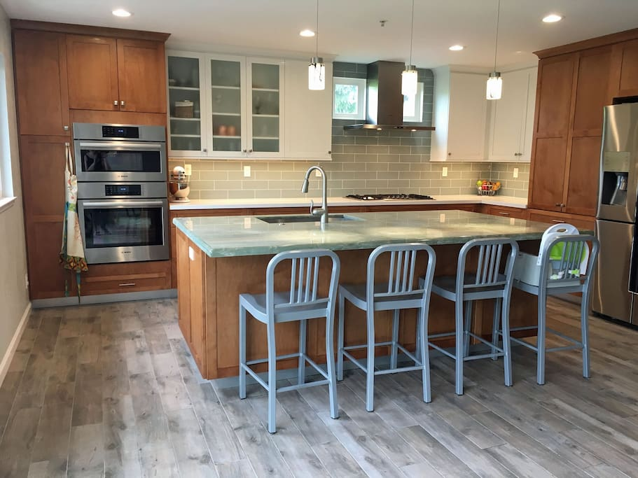 Gourmet kitchen remodeled with radiant heat floors