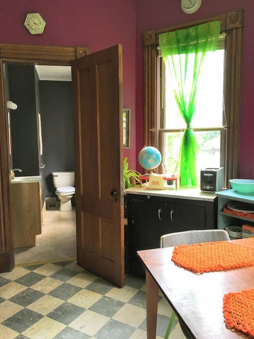 Private half bathroom.  Shower is not included, but access can be arranged for long-term guests.