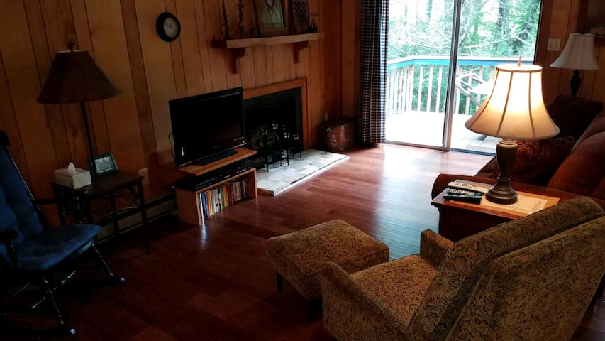Living room with gas log fireplace & sliding glass doors leading to porch.