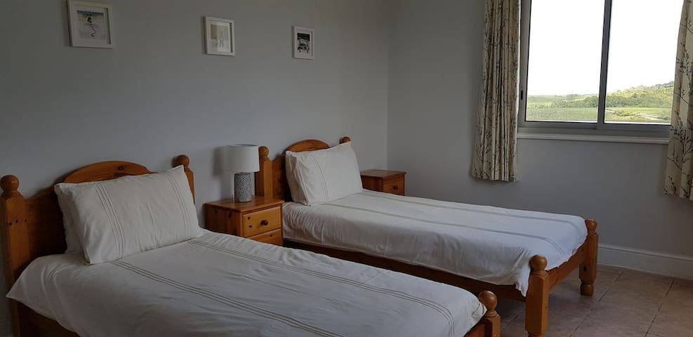 Bedroom 4 with Twin single beds , accessed from lower hall. Room has double aspect windows and views of garden and pool