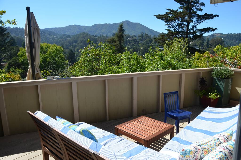 View of Mt. Tam from outdoor sectional (with heat lamp).