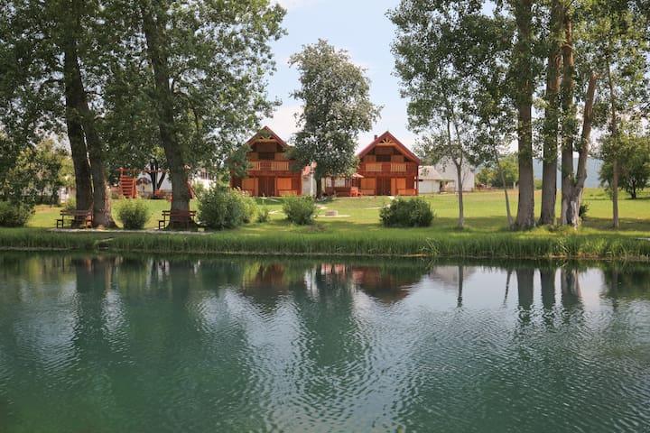 Drvene kuće uz rijeku Gacku