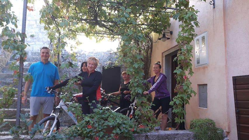 Guests with bicycles